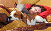 The sleeping woman and its dog — Stock Photo