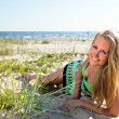 Foto Stock: Happy womin green sundress