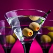 Glasses with martini and green olives — Stock Photo #31363525