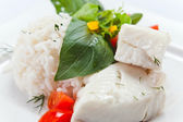 Halibut with rice — Stock Photo