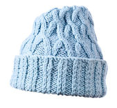 Blue knitted hat on white background — Stok fotoğraf
