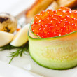 Macro shot of red caviar  — Stockfoto