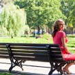 young pregnant woman in park — Lizenzfreies Foto