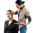 Stylist works with model — Stockfoto