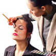 Stylist works with model — Stok fotoğraf