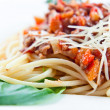 Spaghetti with meat — Stock Photo