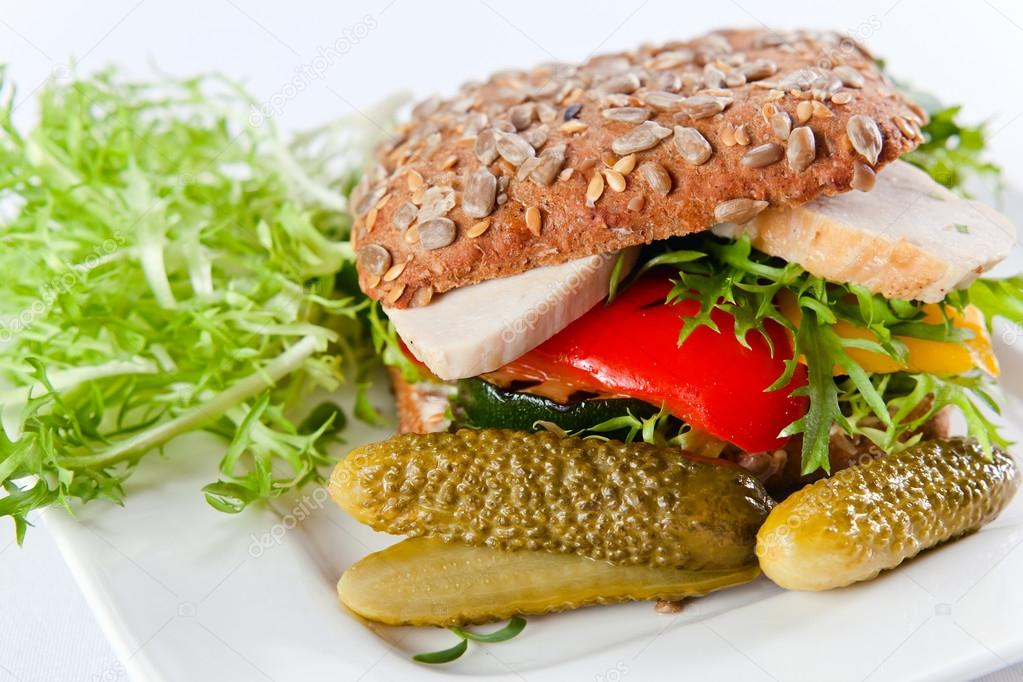 Izgara Tavuk Sandviç Tavuk Sandviç — Fotoğraf