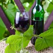 Stock Photo: Bottle and glass with red wine