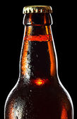 Frozen beer bottle isolated on black , saved clipping path — Stock Photo