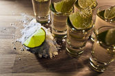 Tequila , lime and salt — Stockfoto
