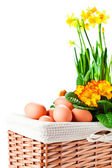 Basket with spring flowers and eggs  — Stock Photo