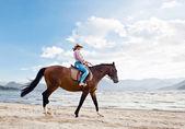 海岸の馬と少女 — ストック写真