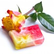 Rose scented soap isolated on white — Stock Photo