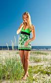 woman in green sundress  — Stock Photo