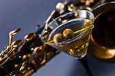 Martini and sax — Stock Photo