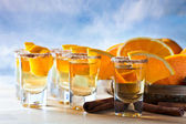 Tequila with orange and cinnamon  — Stock Photo