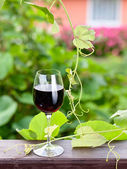 Bottle and glass with red wine — Stock Photo