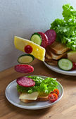 Sandwich with salami and cheese — Stock Photo