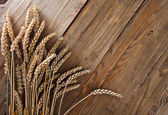 harvest on old wooden table — Stock Photo
