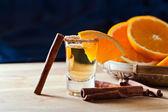 Tequila with orange and cinnamon  — Stock Photo