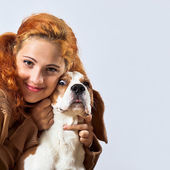 Girl with beagle  — Stock Photo