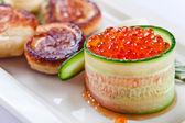 red caviar with pancakes  — Stock Photo