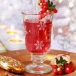 Mulled wine glass with cranberry - Stock Photo