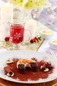 Dessert for Christmas with mulled wine — Stock Photo
