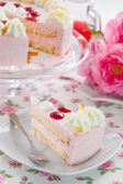Piece of strawberry cream cake — Stock Photo