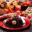 Table decorated for Thanksgiving — Stock Photo