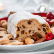 Christmas stollen with cookies and gingerbread — Stock Photo