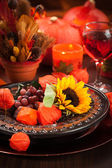 Autumn place setting — Stock fotografie