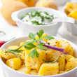 Baked potatoes with sour cream — Stock Photo
