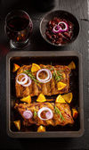 BBQ spare ribs with chutney and wine — Stock Photo