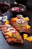Côtes levées barbecue mariné — Photo