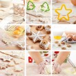 Christmas baking collage - Stock Photo