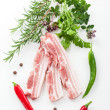 Raw bacon ribs with rosemary — Stock Photo