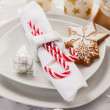 Place setting in white for Christmas — Stock Photo