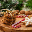 Christmas nut and chocolate cookies — Stock Photo