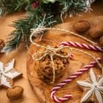 Christmas nut and chocolate cookies — Stock Photo