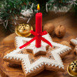 Homemade gingerbread candle for Christmas — Stock Photo #14054198