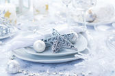 Place setting in silver for Christmas — Stock Photo