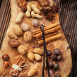 Spices and nuts for Christmas - Stock Photo