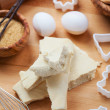 Almond paste with baking ingredients — Stock Photo