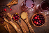 Ingredients for cranberry hot mulled wine — Stock Photo