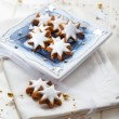Homemade gingerbread star cookies for Christmas — Stock Photo
