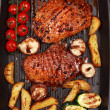 Delicious beef steak with grilled vegetable - Stok fotoğraf