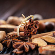 Spices and nuts for Christmas — Stock Photo