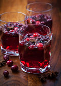 Hot drink with cranberries for — Stock Photo