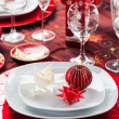 Place setting Christmas with paper star — Stock Photo